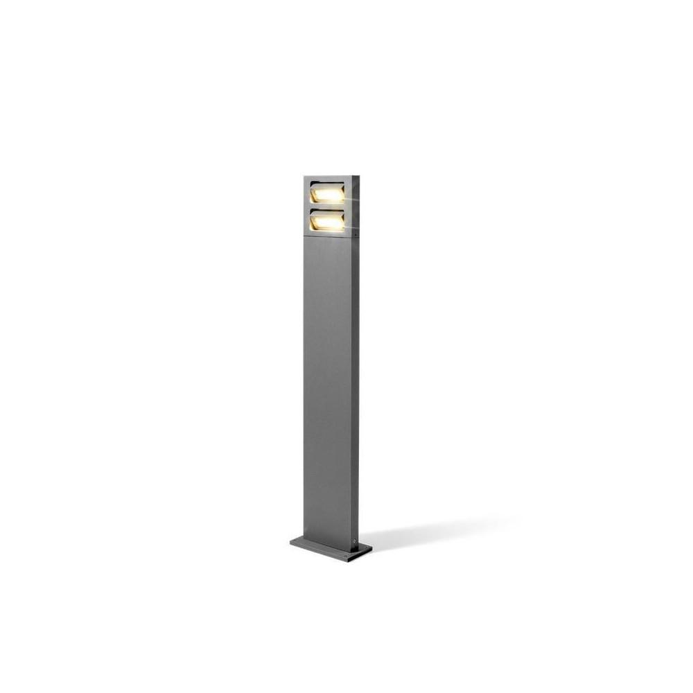 Borne lumineuse 100cm double tete orientable gris for Poteau led exterieur