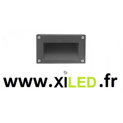 Spot de balisage à 3w LED d'escalier mur encastrable rectangle gris