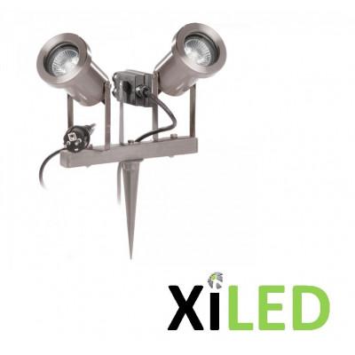 Spot à piquer ou à fixer double tetes orientable aluminium Orientable 230V -gu10 5w led