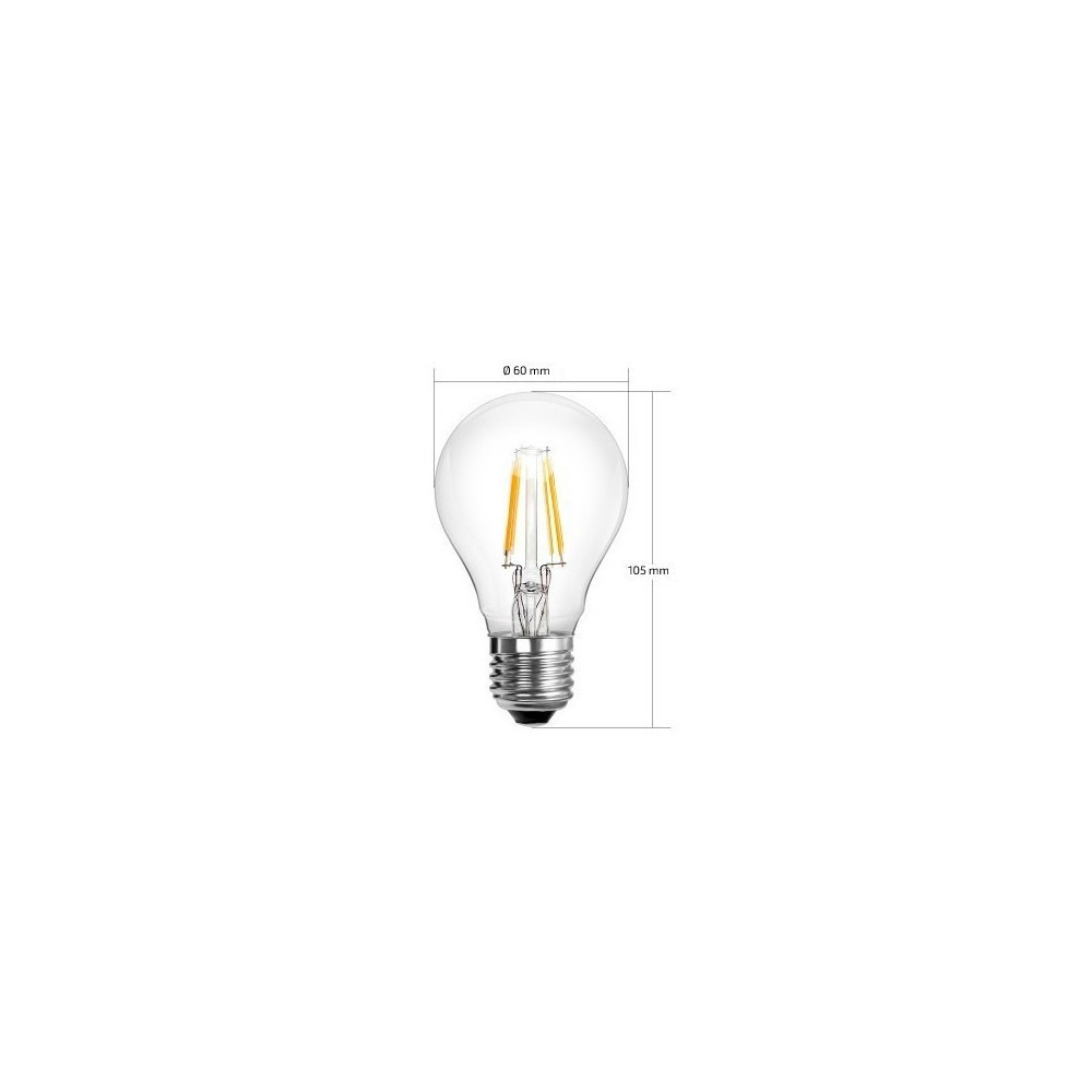 ampoule led filament culot e27 verre clair forme standart halogene 60w 550 lumens dimmable xiled. Black Bedroom Furniture Sets. Home Design Ideas