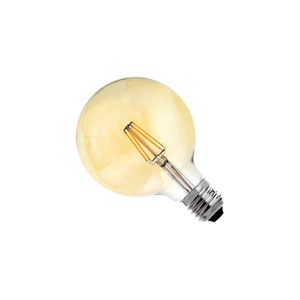 ampoule led filament dimmable culot e27 verre doré-globe ballon 125mm-550 lumens-2200k