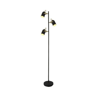 lampadaire 166cm lampe sur pied 3 tetes orientable noir et or culot e14