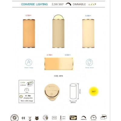 lampe portable rechargeable dimmable change de couleur du blanc chaud au blanc froid 2700k-5500k