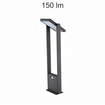 borne led potelet 60cm-noire-tete solaire orientable-detecteur de mouvement-ip54-150lm-4000k