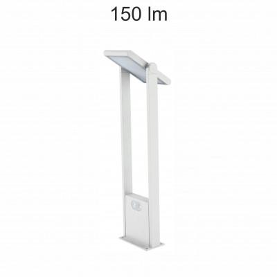 borne led potelet 60cm-blanche-tete solaire orientable-detecteur de mouvement-ip54-150lm-4000k