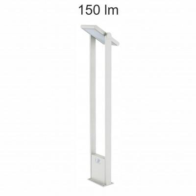 borne led potelet 100cm-blanc-tete solaire orientable-detecteur de mouvement-ip54-150lm-4000k