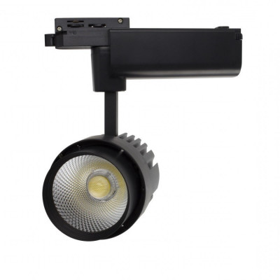 xiled-projecteur led 30w noir-36°-cri 80-2400lm-3000k-4000k-6000k-sur rail 1 allumages aluminium monophasé boutiques commerces