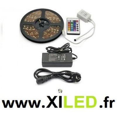 kit ruban 5 mètres led strip rgb smd 5050 + télécommande + transformateur