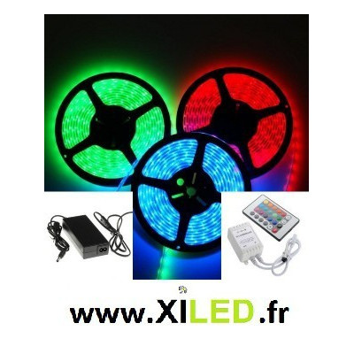 ruban 5m led strip rgb couleurs etanche ip67+alimentation 12v