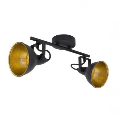 applique éclairage mural ou de plafond spot patere orientable noir et chrome-culot gu10