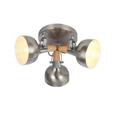 applique éclairage mural ou de plafond spot patere orientable bois et alu-culot e14