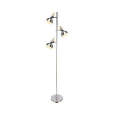 lampadaire lampe a poser 3 tetes orientable bois et acier-culot e14