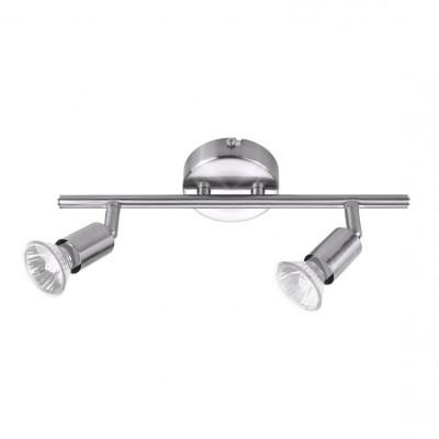 applique éclairage mural et de plafond spot double tetes patere orientable inox ampoule gu10 220v