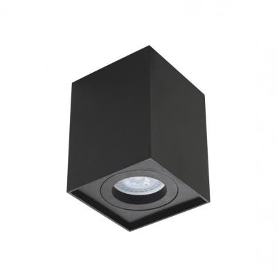 plafonnier noir bloc aluminium rectangulaire montage saillie ampoule gu10 220v