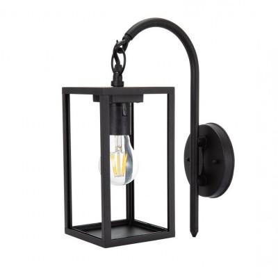 applique lanterne murale noire culot e27-ip44_220v-cage moderne