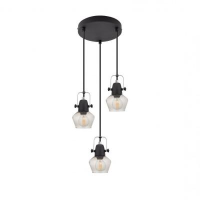 lustre-plafonnier-noir-triples-suspensions-culot-e14-effet-cloche-verre