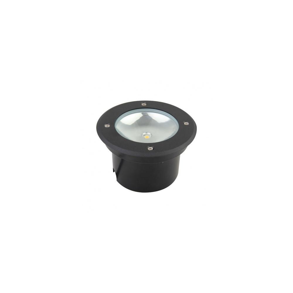 spot led gris anthracite encastrable de sol exterieur 220v 3w diametre 150mm. Black Bedroom Furniture Sets. Home Design Ideas