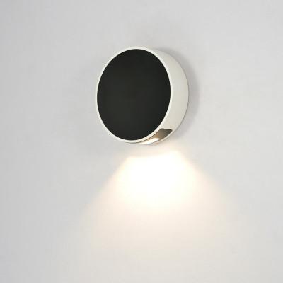 applique exterieur balisage led 6w-250 lumens 3000k rond noir mural ip44