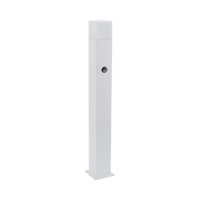 borne de jardin blanche a detecteur de mouvement 74cm culot e27 ip44 220v