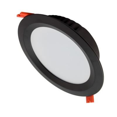 spot downlight rond noir led encastrable 25w-2800 lumens blanc encastré 210mm