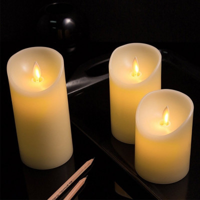 kit de 3 bougies a led a piles flamme blanc chaud