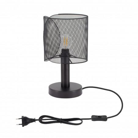 lampe de table noire culot e27 pied 30cm style cage grillage noir