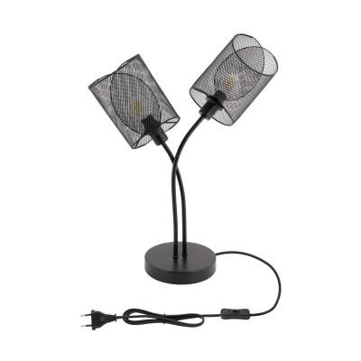 lampe de table noire double culot e14 pied tyle cage grillage noir