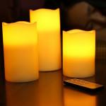kit de 3 bougies a led a piles blanc chaud avec télécommande