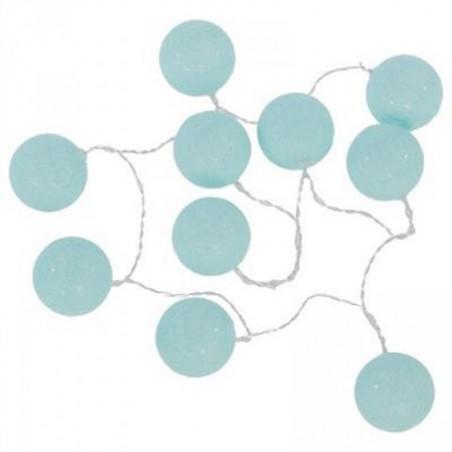 guirlande led 10 boules coton lin noir 350cm 3.5m a pile ou 220v noir-blanc-bleu-rose