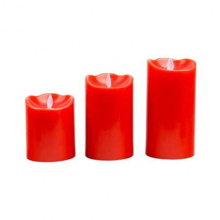 kit de 3 bougies rouge a led a piles flamme blanc chaud