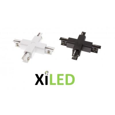 accessoire connecteur en croix pour rail 3 allumages x led-blanc ou noir