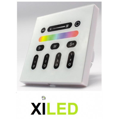 interrupteur mural tactile telecommande radio wifi pour ampoule,projecteur,dalle led rgb +blanc 4 zones 9 programmes+varition