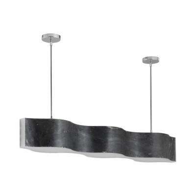 suspension led 60w noire feuille ardoise 1080mm effet vague variable 7200 lumens art deco moderne contemporain