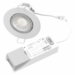 spot 7w led downlight rt2012 variable ip65 recouvrable rond blanc 89mm blanc-bbc-selectionneur de temperature 3000k-4000k-6000k