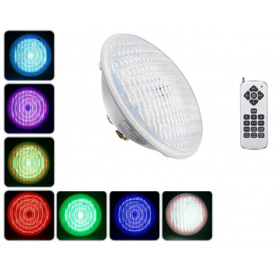 Ampoule piscine couleurs 35w led par56 rgb radio rf commande distance