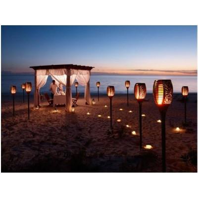 lanterne de jardin solaire led torche flambeau effet feu scintillent