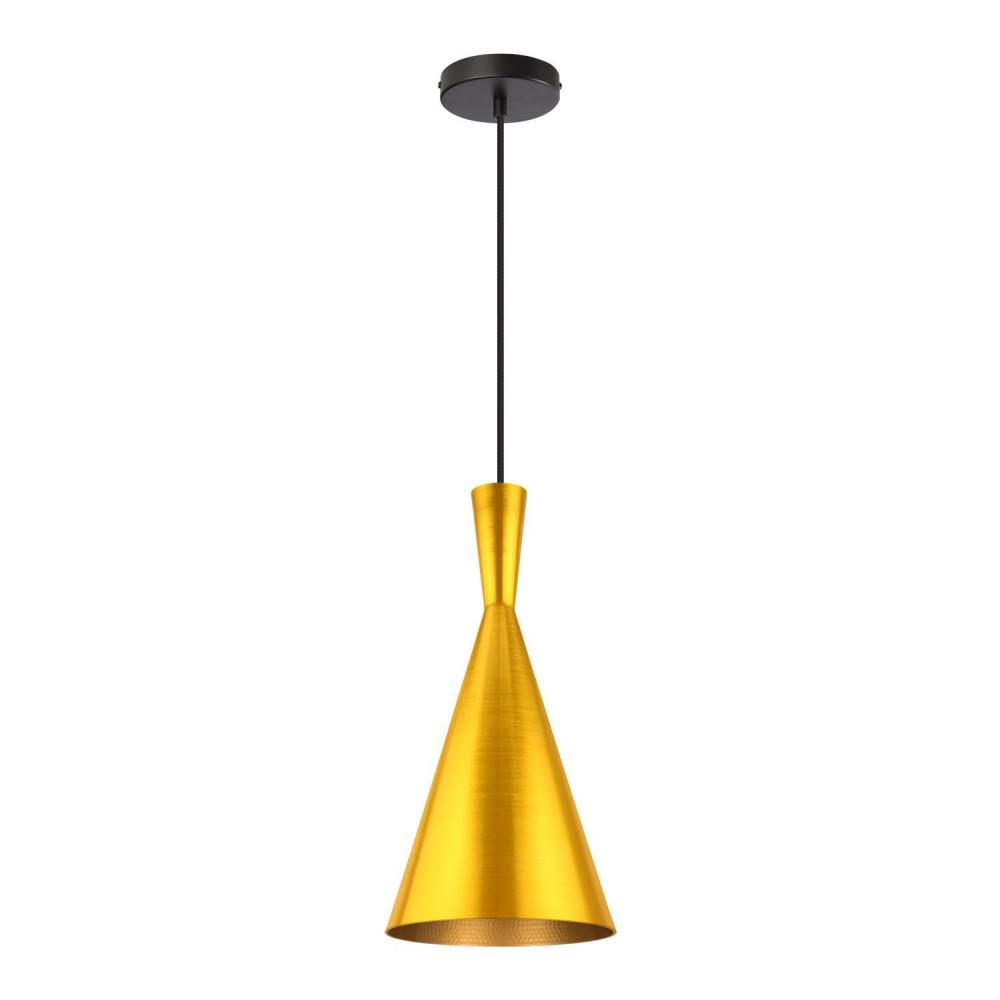 suspension-moderne-dore-lustre-plafonnier-conique-culot-ampoule-e27