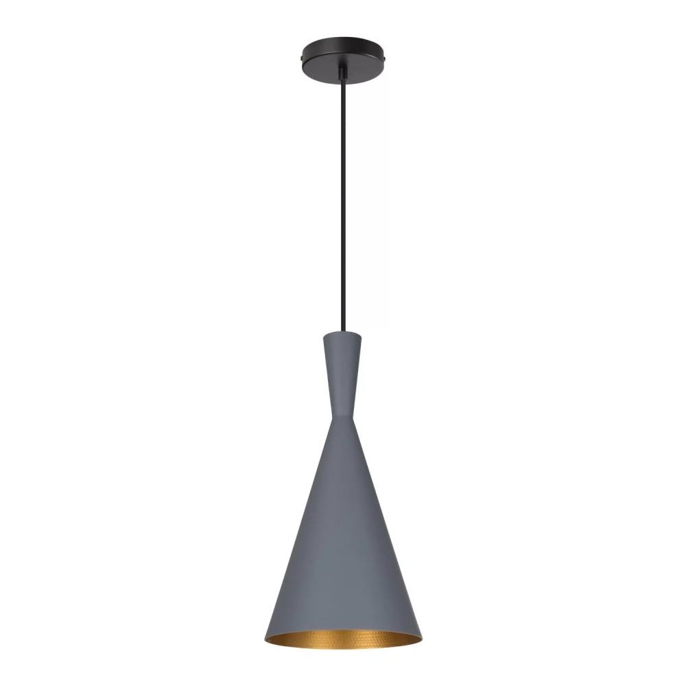 suspension-moderne-grise-lustre-plafonnier-conique-culot-ampoule-e27