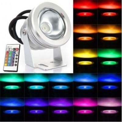 Projecteur spot rgb couleur LED exterieur Lumiere Eclairage Lampe Ampoule 12v IP67 + telecommande