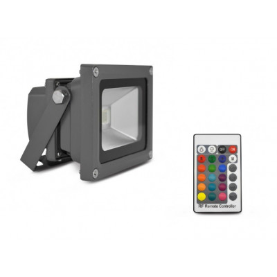 Projecteur led 10w ip65 multi-couleurs rgb-rvb gris