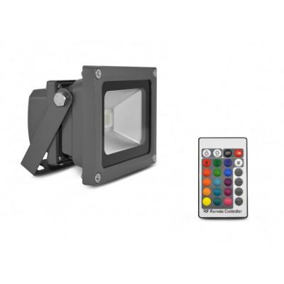 Projecteur led 20w ip65 multi-couleurs rgb-rvb-rocaille-jardin rf radio
