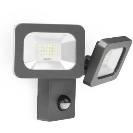 Projecteur led 22w double tetes orientable detecteur de presence pir-ip44-blanc neutre-4000k-1600 lumens
