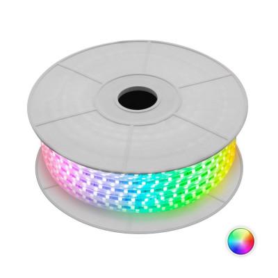 rouleau 50m strip led ruban flexible etanche 220v lumière rvb couleurs rgb