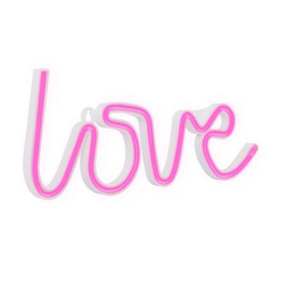 Lampe néon led sur piles forme de love amour rose