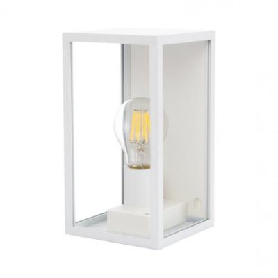 applique murale blanche culot e27-ip44-220v-lanterne cage moderne