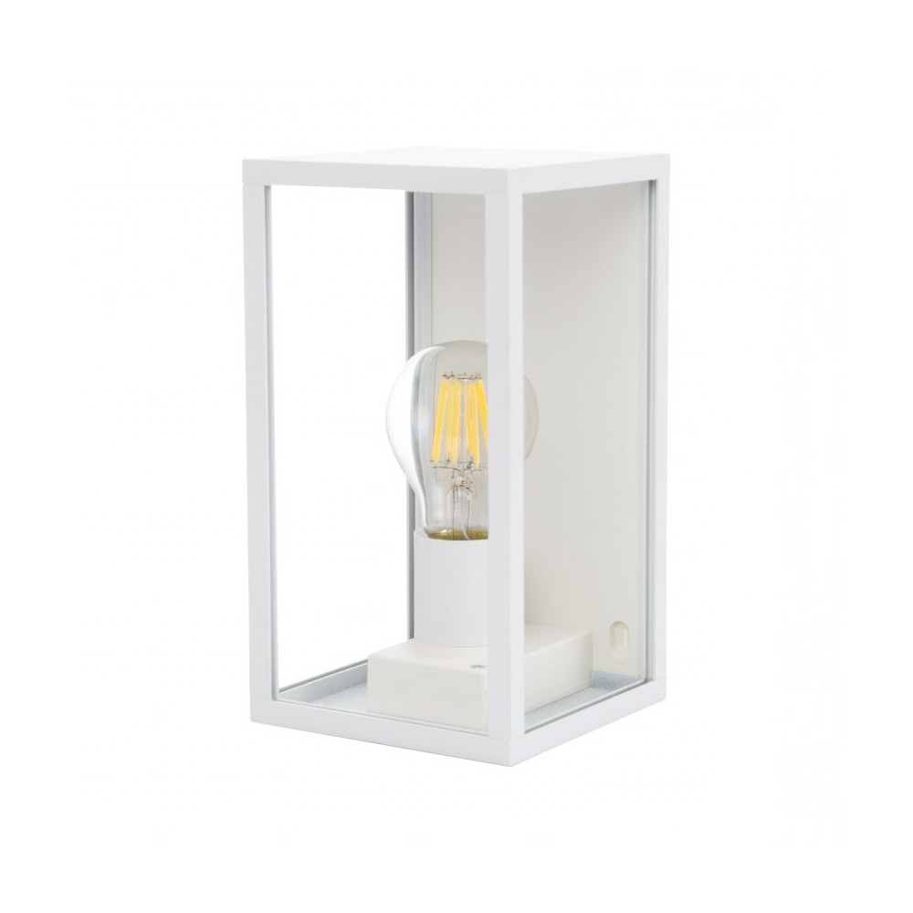 applique murale blanche culot e27-ip44_220v-lanterne cage moderne