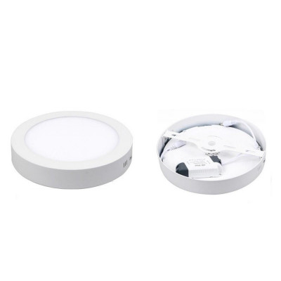 plafonnier rond 18w led installation en saillie blanc