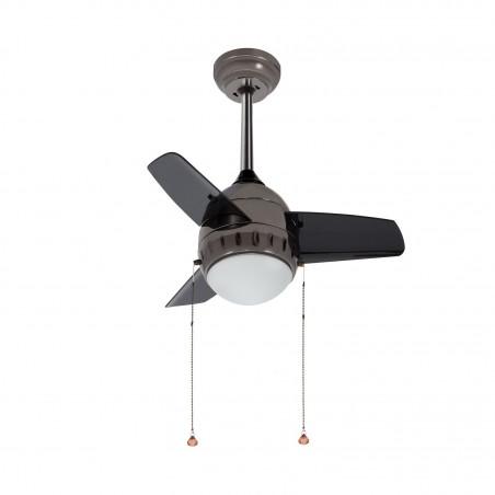 ventilateur de plafond 3 pales inox-3 vitesses-diametre 66cm-7w led