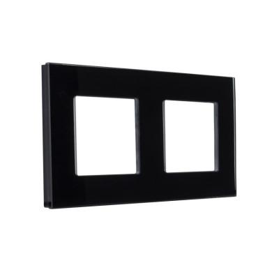 plaque-verre-double-postes-noir-ou-blanc