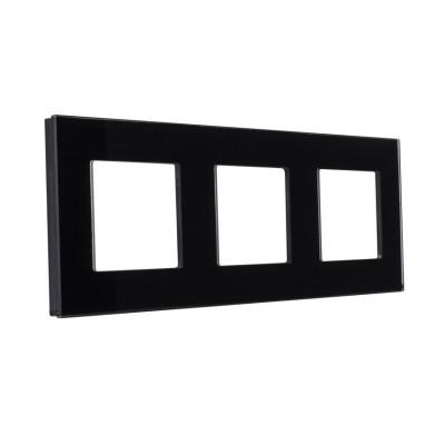 plaque verre triple postes noir ou blanc